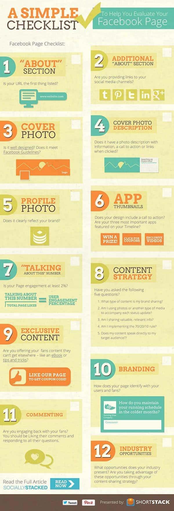 simple facebook page checklist