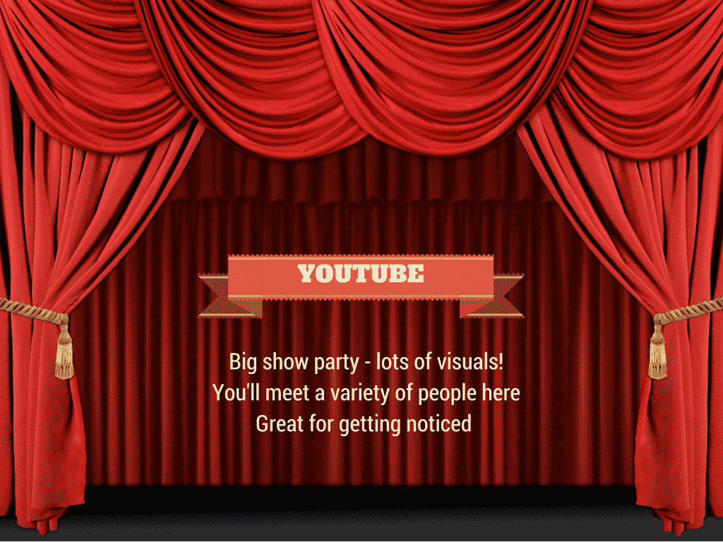 youtube is a big showy party