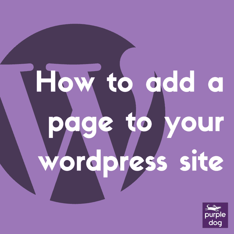 How to add a page to your wordpress site