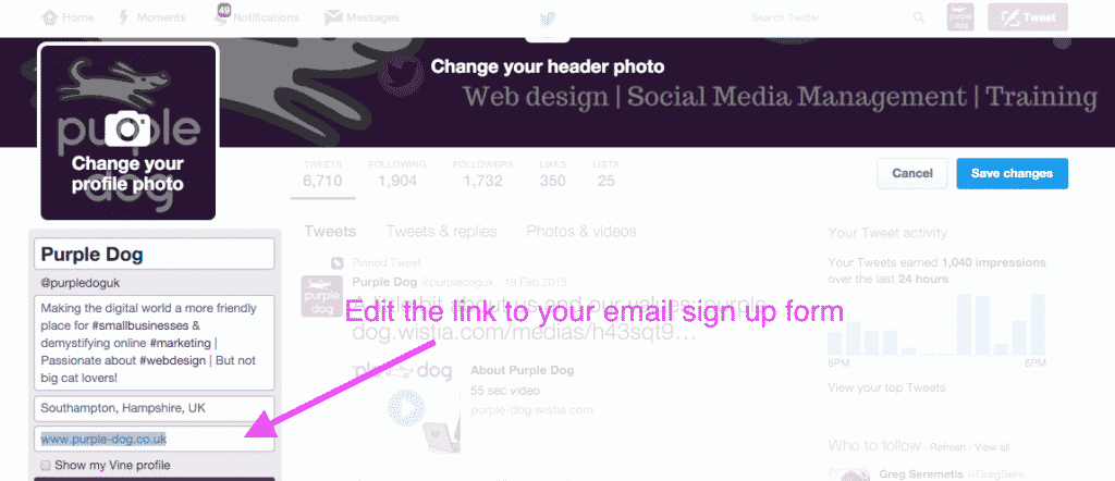 change your twitter profile to help grow your email list