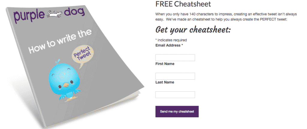 free cheatsheet sign up form example