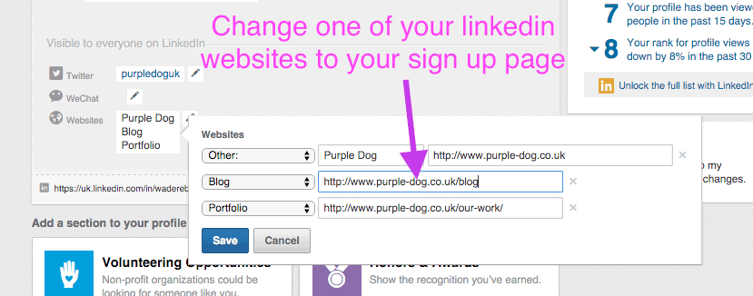 use your linkedin profile to grow your email list