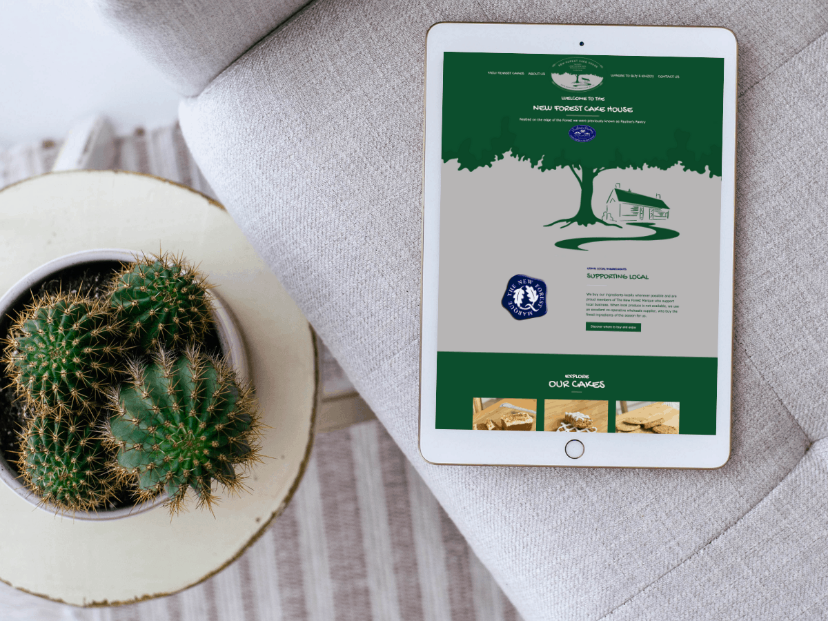 website design for new forest cake house